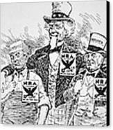 Cartoon Depicting The Impact Of Franklin D Roosevelt  Canvas Print by American School