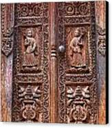 Carved Wooden Door At Bhaktapur In Nepal Canvas Print by Robert Preston