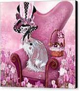 Cat In Mad Hatter Hat Canvas Print by Carol Cavalaris