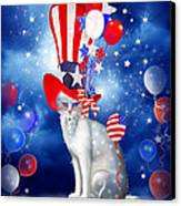 Cat In Patriotic Hat Canvas Print by Carol Cavalaris