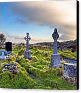 Celtic Crosses In An Old Irish Cemetery Canvas Print by Mark E Tisdale