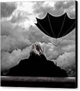 Chance Of Rain   Broken Umbrella Canvas Print by Bob Orsillo