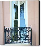Charleston Pink White Architecture - Charleston Historical District French Quarter Window Balcony Canvas Print by Kathy Fornal