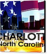 Charlotte Nc Patriotic Large Cityscape Canvas Print by Angelina Vick