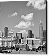 Charlotte Skyline In Black And White Canvas Print by Jill Lang