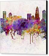 Charlotte Skyline In Watercolor Background Canvas Print by Pablo Romero