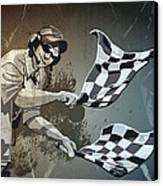 Checkered Flag Grunge Monochrome Canvas Print by Frank Ramspott