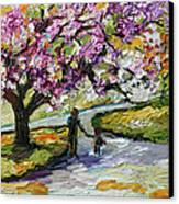 Cherry Blossom Tree Walk In The Park Canvas Print by Ginette Callaway