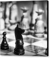 Chess Game In Black And White Canvas Print by Paul Ward