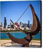 Chicago Adler Planetarium Sundial And Chicago Skyline Canvas Print by Paul Velgos