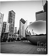 Chicago Bean And Chicago Skyline In Black And White Canvas Print by Paul Velgos