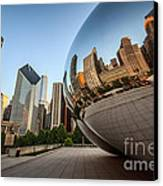 Chicago Bean Cloud Gate Sculpture Reflection Canvas Print by Paul Velgos
