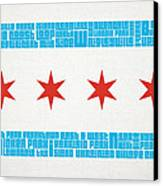 Chicago Flag Neighborhoods Canvas Print by Mike Maher