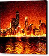 Chicago Hell Digital Painting Canvas Print by Paul Velgos