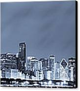 Chicago In Blue Canvas Print by Sebastian Musial