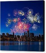 Chicago Lakefront Fireworks Canvas Print by Steve Gadomski