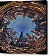 Chicago Looking East Polar View Canvas Print by Thomas Woolworth