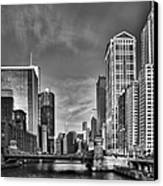 Chicago River In Black And White Canvas Print by Sebastian Musial