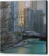Chicago River Sunset Canvas Print by Jeff Kolker