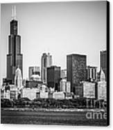 Chicago Skyline With Sears Tower In Black And White Canvas Print by Paul Velgos