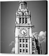 Chicago Wrigley Building Clock Black And White Picture Canvas Print by Paul Velgos