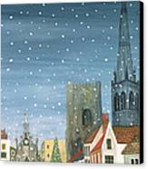 Chichester Cathedral A Snow Scene Canvas Print by Judy Joel