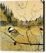 Chickadee In Dancing Pine Canvas Print by Carolyn Doe