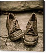 Child's Old Leather Shoes Canvas Print by Edward Fielding