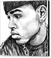 Chris Brown Art Drawing Sketch Portrait Canvas Print by Kim Wang