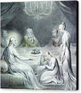 Christ In The House Of Martha And Mary Or The Penitent Magdalene Canvas Print by William Blake