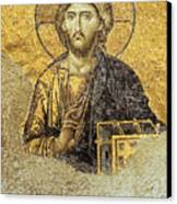 Christ Pantocrator-detail Of Deesis Mosaic Hagia Sophia-judgement Day Canvas Print by Urft Valley Art