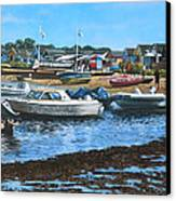 Christchurch Hengistbury Head Beach With Boats Canvas Print by Martin Davey