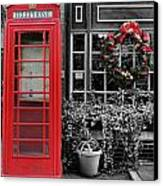 Christmas - The Red Telephone Box And Christmas Wreath IIi Canvas Print by Lee Dos Santos