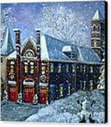 Christmas At The Fire House Canvas Print by Rita Brown