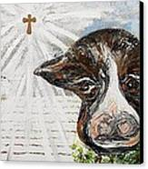 Christmas Cow - Oh To Have Been There... Canvas Print by Eloise Schneider