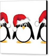Christmas Penguins Isolated Canvas Print by Jane Rix