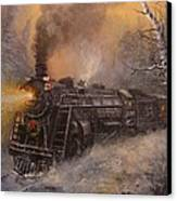 Christmas Train In Wisconsin Canvas Print by Tom Shropshire