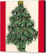 Christmas Tree With Red Mat Canvas Print by Mary Helmreich