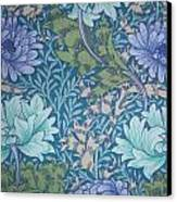 Chrysanthemums In Blue Canvas Print by William Morris