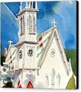 Church With Jet Contrail Canvas Print by Kip DeVore