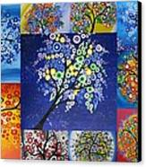 Circle Tree Collage Canvas Print by Cathy Jacobs