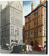 City - Chattanooga Tn - 1943 - The Masonic Temple - Both Canvas Print by Mike Savad