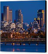 city lights and blue hour at Tel Aviv Canvas Print by Ron Shoshani