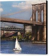 City - Ny - Sailing Under The Brooklyn Bridge Canvas Print by Mike Savad