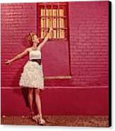 Classy Diva Standing In Front Of Pink Brick Wall  Canvas Print by Kriss Russell