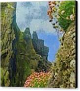 Cliffside Sea Thrift Canvas Print by Jeff Kolker