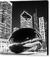Cloud Gate Chicago Bean Black And White Picture Canvas Print by Paul Velgos