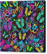 Cloured Butterfly Explosion Canvas Print by Alixandra Mullins
