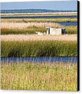 Coastal Marshlands With Old Fishing Boat Canvas Print by Bill Swindaman