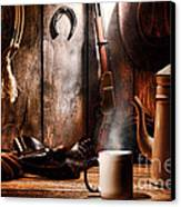 Coffee At The Cabin Canvas Print by Olivier Le Queinec
